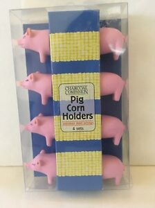 Pink Corn Holders Pigs 4 Sets Stainless Steel Prongs New