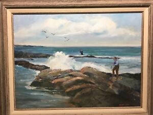 Oil on Canvas Painting Nautical Fisherman Fishing Seascape Signed Clare Cole $250.00