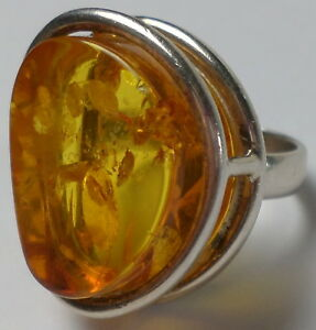 Gorgeous Sterling Silver 925 Large Authentic Honey Amber Ring 15 Gram Sz 7.5 New