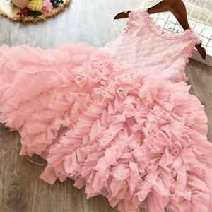 Lace Flower Girl Dress Kids Party Princess Birthday Party Tutu Clothes Size 3 8