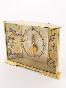 Rare Jaeger-LeCoultre BIRDS & ROSES table clock with 8 day inline movement 60´s
