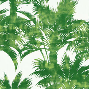 SCALAMANDRE EXOTIC TROPICAL CHIC LINEN PRINT  HOME DECOR FABRIC 5 YARDS GREEN
