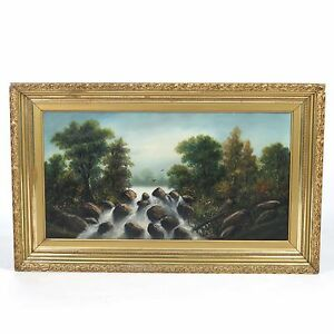 Antique landscape painting vtg oil on canvas waterfall woods 20th c unsigned $310.00