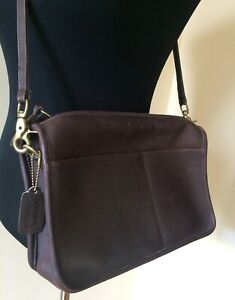 Vtg Authentic COACH Chocolate Brown Leather Purse New York City Cross Bag 80s