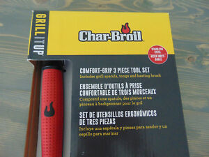 CHAR-BROIL COMFORT GRIP 3 PIECE GRILL TOOL SET SPATULA BRUSH TONGS BRAND NEW!