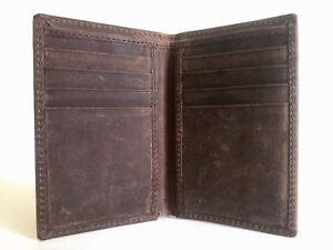 MENS ARTISAN DESIGNER HANDMADE VTG STYLE DISTRESSED DK BROWN LEATHER CARD WALLET