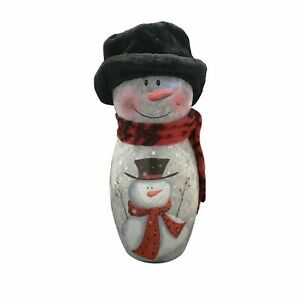 Lighted Snowman w Black Top Hat by Stony Creek