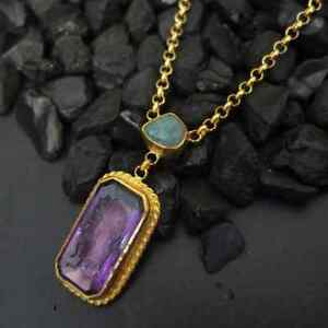 Turkish Ancient Handmade Amethyst Color Intaglio Necklace 925K Sterling Silver
