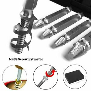 6Pcs/Set Screw Extractor Drill Bits Tools Broken Damaged Stripped Bolt Remover