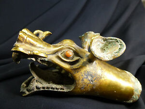 Chinese Gilt-Bronze Dragon's Head Scepter wRed Agate Eyes-General's War Chariot