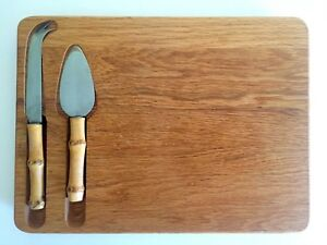 VTG MID CENTURY MODERN JAPAN FRUIT CHEESE BOARD & BAMBOO KNIVES 3PC SERVING SET