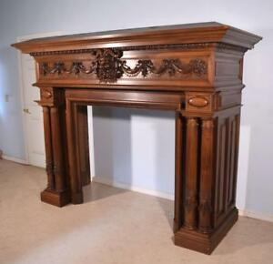 Antique French Fireplace SurroundMantle in Walnut with Baccus or Devil