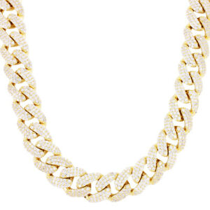 925 Sterling Silver Gold Plated Solid 15mm Iced Miami Cuban Link Box Lock Chain