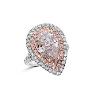 Real GIA 6.04ct Natural Fancy Very Light Pink Diamonds Engagement Ring 18K Pear