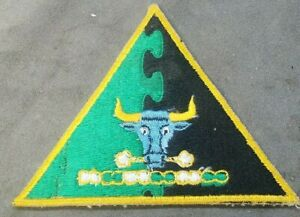 MILITARY TRIANGLE GREEN AND BLACK PATCH WITH BABE THE BLUE OX HEAD $18.00