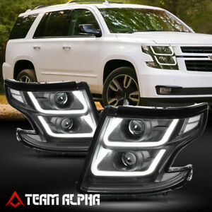 Fits 2015-2018 SuburbanTahoe LED U-BAR 3D DRL BlackClear Projector Headlight