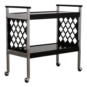 Middle Eastern Design Infused Black & Chrome Bar Cart
