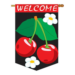 Welcome Cherries Flag - Food Fruits Applique House
