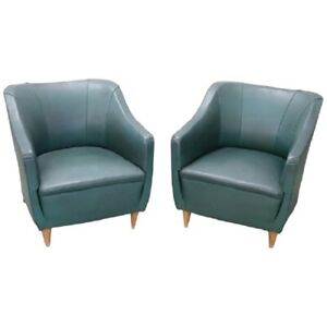 20th Century Italian Design Green Leather Pair of Armchairs 1960s