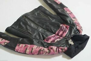 Harley Davidson Women's Pink CAMO Black Leather Jacket 3in1 Hoodie S 97058-11VW