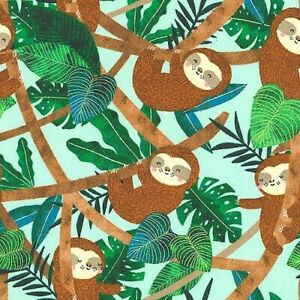 Restful Sloths - Tropical Forest Home - Sky Blue, cotton quilting fabric