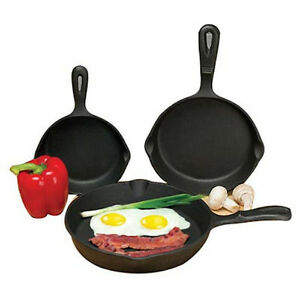 Cast Iron 3 Piece Skillet Set Nonstick Fry Pans 6