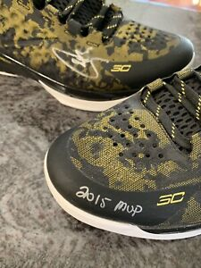 STEPHEN CURRY SIGNED UNDER ARMOUR CURRY 1 SHOES 2015 NBA MVP Stephen Curry COA