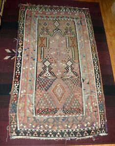 ANTIQUE TURKISH KILIM RUG RARE COLLECTIBLE 43