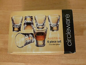 Quality Heavy Glass 2 oz. Shot glass set of 6. Made in Italy. New old stock.