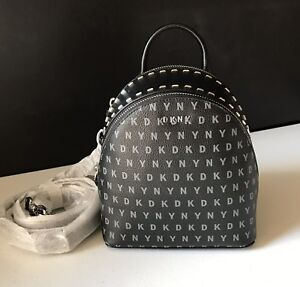 DKNY Small Studded Signature Backpack for Women Black Faux Leather