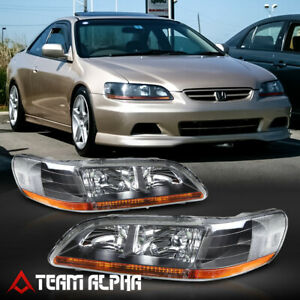 Fits 1998-2002 Honda Accord [BlackClear] Amber Corner Headlight Headlamp Lamp