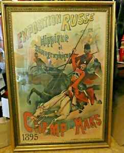 Original Antique Russian Exhibition LithographAd Poster Exposition Russe 1895