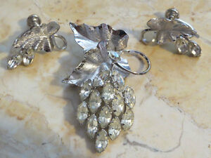 Sterling Grapevine with Marquise Rhinestones Brooch Earring Set Signed Star Art $40.00