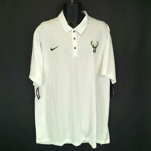 New NWT Nike Men's 3XLT Tall Milwaukee Bucks White Dri-Fit Short-Sle