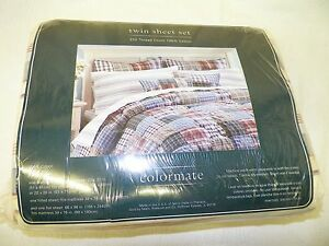 Sears Colormate Casual 3 PC TWIN Sheet Set NEW 220 Thread Count 100% Cotton
