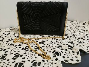 ESCADA Couture Purse Black Satin Sequins & Beaded Spider Web design New wBag