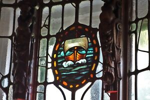 19C GothicArts & Crafts LeadedStained Glass Architectural Carved Bay Window
