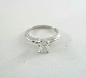 Radiant Cut Four Prong Style Solitaire Diamond Ring 0.95 ctw 14K White Gold Sz 6