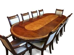 10.4FT DESIGNER REGENCY STYLE MAHOGANY  BURR ASH DINING SET FRENCH POLISHED