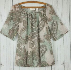 Chicos Peasant Blouse Womens 0 Ivory Pink Light Green Paisley 3 Quarter Sleeve $13.95