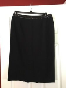 NWOTS! WORTHINGTON BLACK FAUX LEATHER TRIM WAIST PENCIL SKIRT!! SZ 12