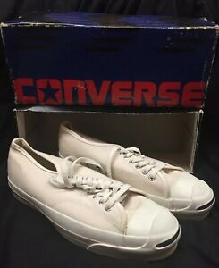 RARE True Vtg 1990s Jack Purcell CONVERSE Low-Top Sneaker Gym Shoes MEN 10 White