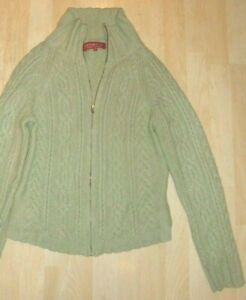 Ladies WHITE STUFF Sage Green Lambswool Cable Pattern Knitted Cardigan - Size 4