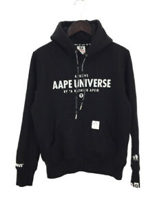 AAPE UNIVERSE by A BATHING APE LOGO PULLOVER HOODIE BLACK (S) Bape Auth Rare