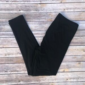 Black Solid Women's Leggings OS One Size 2-12 Buttery Soft