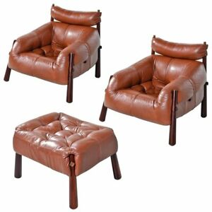 Pair of Percival Lafer Leather MP-81 Rosewood and Leather Chairs with Ottoman