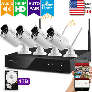 XMARTO 4CH 960p HD Wireless Security Camera System with 1TB HDDAudio Compatible