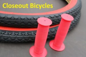 2 DURO Blood Red Wall Tires Tubes + STRIPS 26