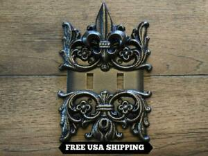 Decorative Double Toggle Switch Wall Cover with Medieval Fleur De Lis Old World