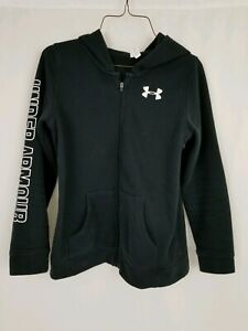 Youth Under Armour Hoodie Large Black EUC Pre owned Full Zip $20.00